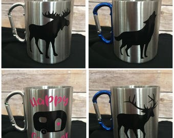 Stainless Steel Camping Mugs with Carabiner Handle