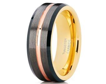 Black Tungsten Wedding Band Brush Ring Men & Women Gunmetal Tungsten Wedding Band Yellow Gold Tungsten Ring Comfort Fit