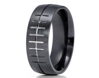 Football Wedding Band Satin Black Zirconium Wedding Band Engagement Ring Black Zirconium Ring Men & Women Comfort Fit