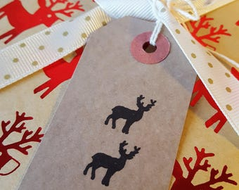 A set of 10 Reindeer gift tags / Christmas gift tags / Xmas Gift tags / Holiday gift Tags / Handmade Stag Gift tags / Kraft Gift Tags / Stag