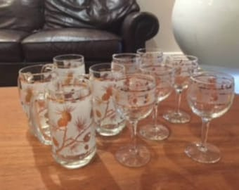 Vintage Libby Pinecone Beer Steins and Wine Glasses