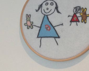 Child's Drawing Embroidered Hoop Art gift for mum,dad, grandparents, Christmas, First day at school, nursery, keepsake, Personalised