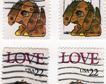 Puppy Love Stamps - Used - Off Paper - 1986 - 7 Stamps - Scott 2202