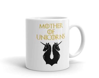 Mother of Unicorns Coffee Mug - Funny Mother of Dragons Parody - Cute Unicorn Party Gift - Unicorn Fan - Novelty Funny Unicorns Coffee Mug