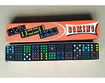Vintage multicolor domino made in Western-Germany, Three monkeys