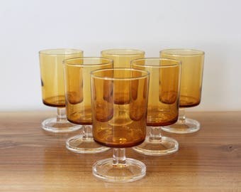 6 Luminarc Cavalier / stemmed glasses / amber / wine glass