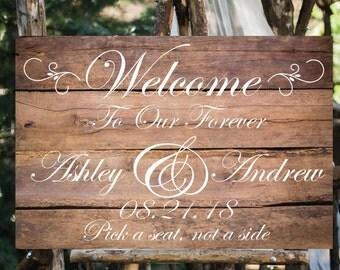 Rustic wood print Welcome sign. Rustic wedding sign. Printed wedding welcome sign