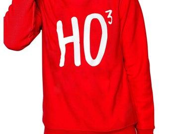 Christmas jumper HO 3. Mens novelty Christmas sweatshirt. Ho to power of 3. Funny festive clothing for him. Ugly Christmas jumper.