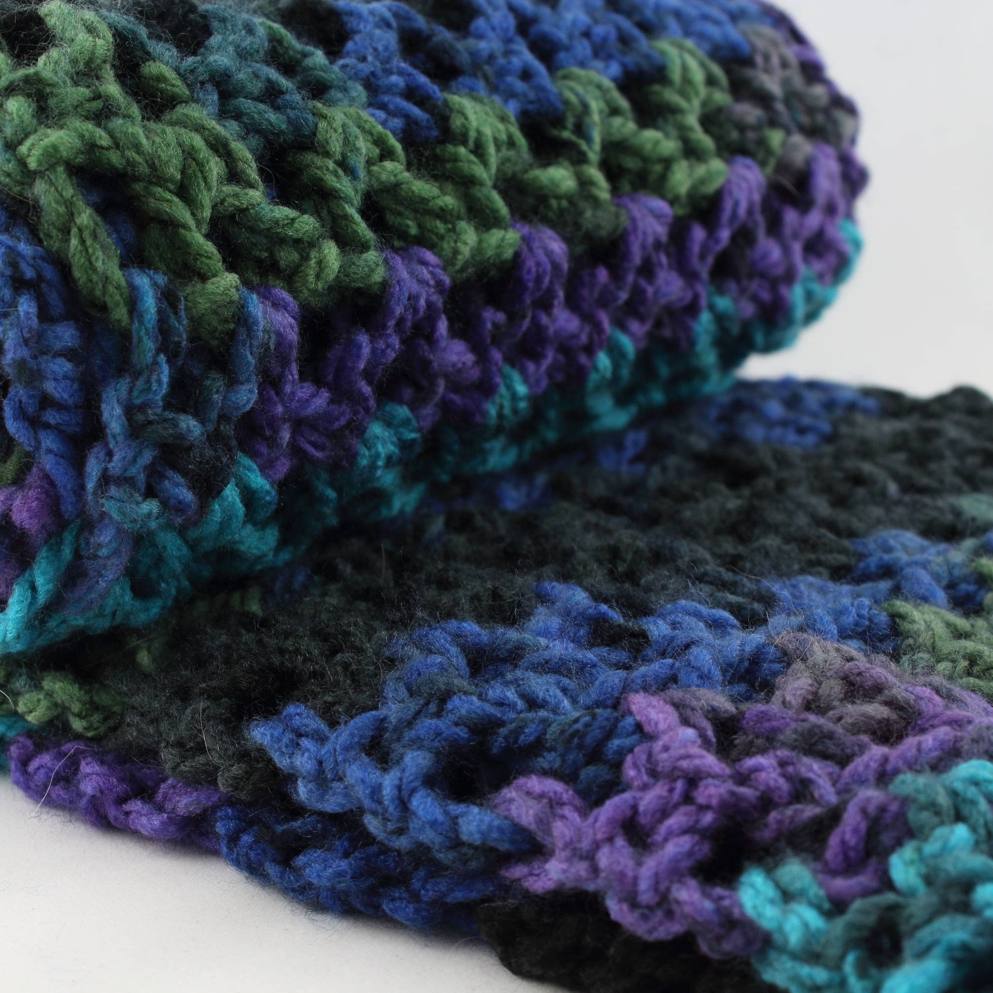 Oversized Infinity Scarf, Fall Colors, Dark Purple, Blue, Green ...