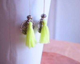 Tassels and Crystal hippie chic bohemian earrings