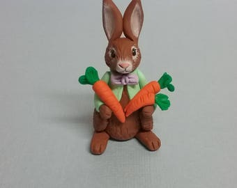 Hand Sculpted Easter Bunny with Carrots in Polymer Clay