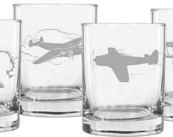 Aviation Whiskey Glasses, Gifts for Men, Gift for Pilot,  Rocks Glasses, Pilot Gift, Aviation Gift, Airplane Gift, Boyfriend Gift, Aviation