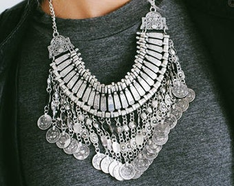Silver Bohemian Metal Bib Necklace
