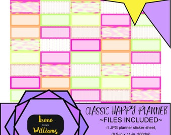 Arrows and Mosaic designs for your Classic Happy Planner; Quarter Box Stickers; Pink Yellow Green Orange
