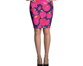 Apple Printed Pattern Bright, Bold, Classic Pencil Skirt, Pink Apple Skirt, Form Fitting High Waisted Skirt, Knee Length Skirt, Stretchy