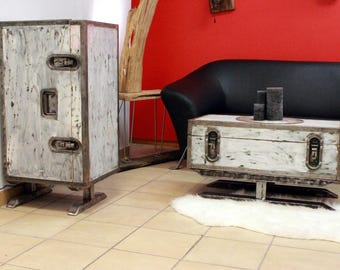 Coffee table High cabinet set!! Vintage wooden chest crate box Trunk Box House shabby