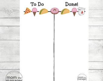 Instant Digital Download To Do and Done: Fun Food Chart for Daily Routines, Tasks and Chores