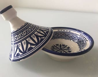 Blue and White Moroccan Tajine-- Fes Pattern