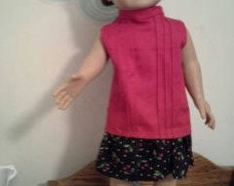 "18"" doll Dropped Waist Pink/Cherries dress 302E"