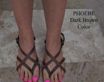 Sandals Women's,Women's Sandals,Dark Chocolate,Brown,Leather Sandals,Greek Sandals,Gladiators Sandals,Strappy Sandals,PHOEBE ( ΕΙΔΙΚΗ ΤΙΜΗ )