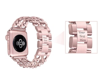 Rose Gold Engraved Apple Watch Band Jewelry Double Row Chain Link 38mm 42mm Bracelet Luxury Band Adjustable Girlfriend Gift Best Friend Gift