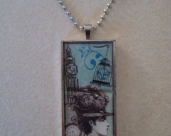 Rectangular pendant on silver plated chain necklace