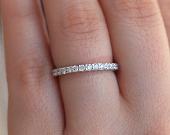 0.50 Carat, Half Eternity Band, Natural Real Diamond Wedding Band, 14k White Gold, U Prong Pave, Stacking Ring, Stacking Wedding Band Ring