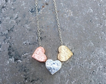 Three Hearts Handcrafted Hammered Necklace | Gold | Rose Gold | Sterling Silver Mommy Jewelry|