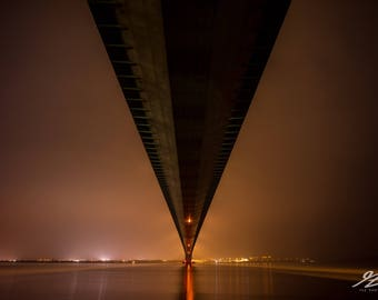 Humber Bridge - Fine Art Framed Gallery Print - Night time / long exposure / architecture / Yorkshire / photography