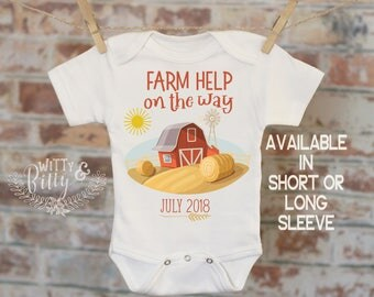 Farm Help On The Way Barn Customized Onesie®, Baby Shower Gift, Customized Onesie, Pregnancy Announcement, Pregnancy Reveal Onesie - 377F