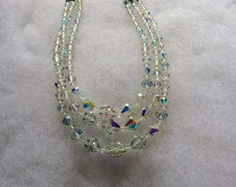 Vintage Triple Stranded Aurora Borealis Beaded Woman's Necklace
