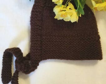 Knitted Baby Hat Vintage Retro 1970s  Brown With Ties