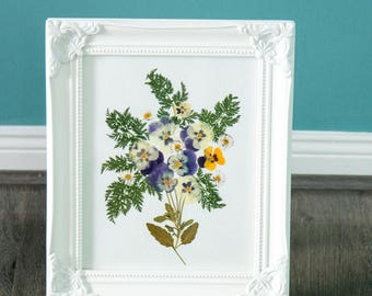 Pansy Bouquet - pressed pansy flowers and field leaves, dried flower composition. Wall decor.