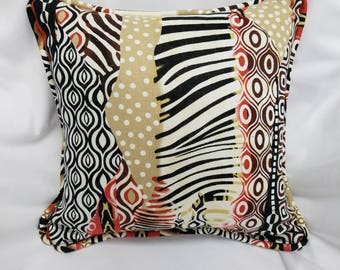 12X12 SAFARI Linen Print Decorative Pillow