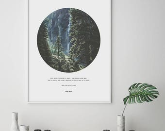 Forest print, Forest wall art, Foggy forest print, Forest quote print, Inspirational quote, Nature photography, Circle wall art, Large print