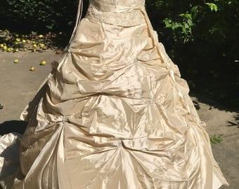Champagne Wedding Dress- Bridal Gown- Custom-made Wedding Dress- Strapless Wedding Gown