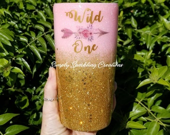 Wild One with Boho Arrow and Flowers on a Pink Gold Ombre Custom Glitter Dipped Tumbler Personalized Yeti 30oz 20oz 14oz 10oz 8oz