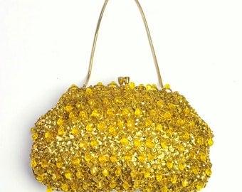 Vintage Gold Bead & Spangle Clutch Evening Bag / Handbag Made in Hong Kong