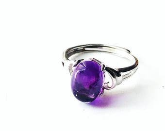 Amethyst Ring, Amethyst Silver Ring, Sterling Silver Ring, February Birthstone Ring, Solitaire Ring, Gifts For Her, Purple Gemstone Ring