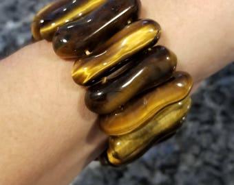 Tiger Eye Stretch Cuff Bracelet. Large Tiger Eye Bracelet. Stretch Tiger Eye Bracelet. Stretch Cuff Bracelet. Tigers Eye Bracelet.