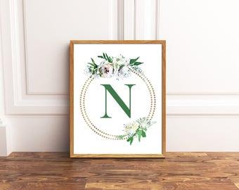 Monogram Printable Art - Letter N - Nursery Decor - Initial Wall Art - Wedding Sign - Floral Wreath - Kids Wall Art - Girl Art
