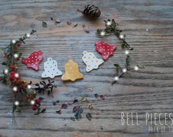 Christmas Bell Clay Pieces (10x Pack)