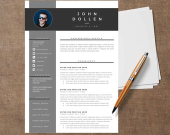 Template Modern of resume |  CV Template for Word, Cover Letter, Two Page Resume, Page references, icons