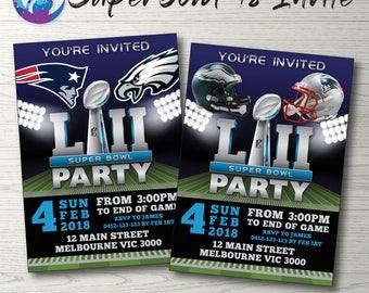 Super Bowl Invitation, Superbowl Invitation, Super Bowl Party Invitation, Super Bowl Ticket Invite, New England Patriots Philadelphia Eagles