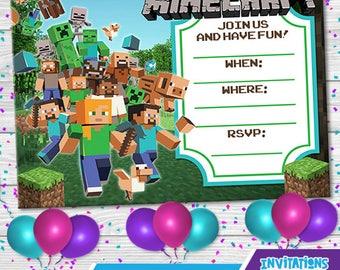 Minecraft Invitation,birthday, party kids, party invitations, digital file, IPS-044