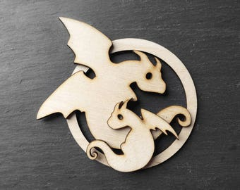 Babys first christmas ornament dragon keepsake - adult and baby dragon - dragon family keepsake - natural color wood - unscented