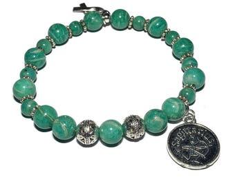 Zodiac Mala Bracelet - Malachite - Stretch  Bracelet
