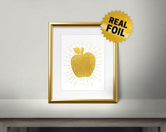 vintage Apple, Real Gold Foil Print, Kitchen Decor, Fruits Decor, Kitchen Art Print, Kitchen Wall Decor, Gold Apple, Framed Wall Decor