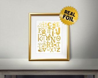 Real Foil Print, Kids Alphabet Wall Art, Heart, Birds, Butterfly, A B C D, Children Wall Art, Kids Room Decor, School, First Grade, Letters
