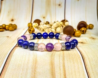 Fairytale gift Colorful Bracelets of the day Holiday for her Lapis lazuli jewelry Fertility Elastic Romantic Mix gemstone Natural bracelet